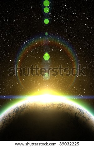 Nebula, sun and planet on the foreground. Sunrise in space. - stock photo