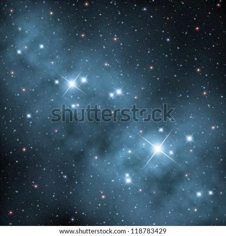 nebula with bright stars - stock photo