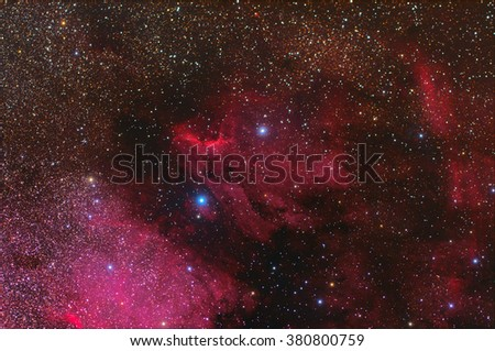 Nebula with Galaxy,Open Cluster,Globular Cluster, stars and space dust in the universe long expose. - stock photo