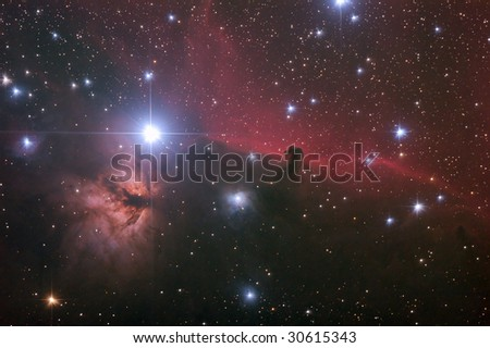 "Nebular comples in Orion's Belt. ""Horse head"" and ""Flaming tree"" nebulas."
