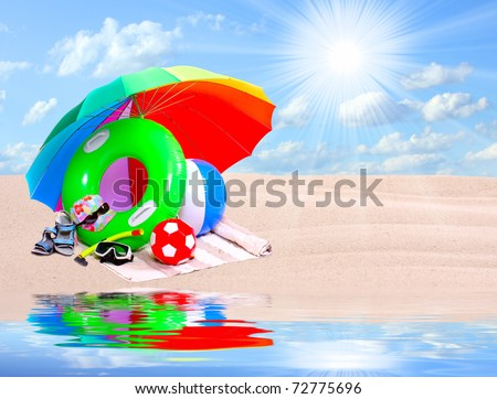 Necessary articles for happy holidays in tropical destination. - stock photo