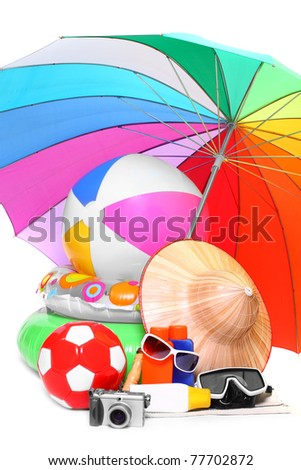 Necessary articles for happy holidays on tropical beach. - stock photo