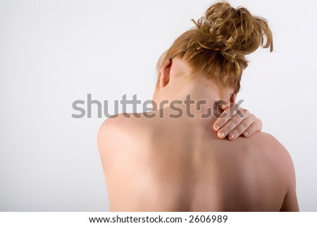 Neck and pain - stock photo