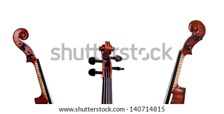 Neck and scroll of the violin in different positions - a collage of art instrument - stock photo