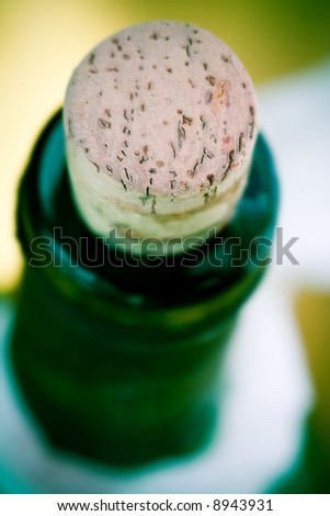 Neck of wine bottle and  Cork. Beverage concept