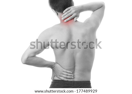 Neck pain in men. Touching the body. - stock photo