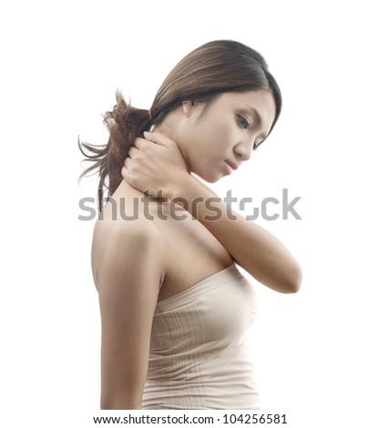 neck pain symptom, female model isolated on white background - stock photo