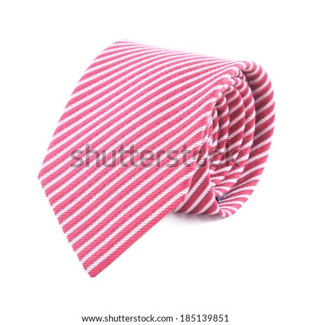neck tie rolled up on a white background