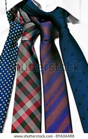 Neck ties in a white shirt - stock photo