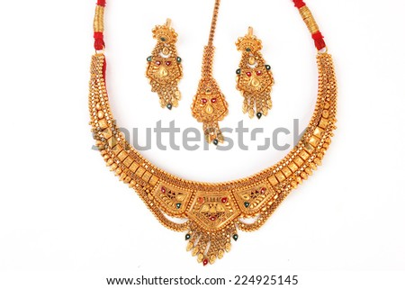 necklace and a pair of earrings set isolated on white - stock photo