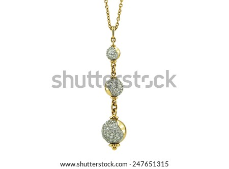 Necklace and pendants isolated on a white background