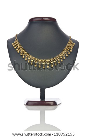 Necklace isolated on the white - stock photo