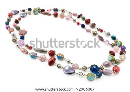 Necklace isolated on white - stock photo