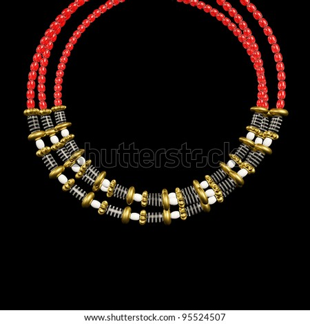 Necklace jewelry ornament design made from metallic seed beads isolated on black background