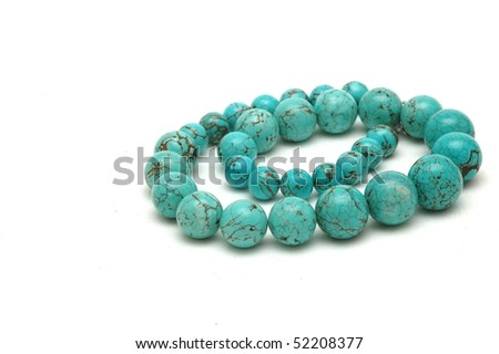 Necklace made of natural stone, isolated - stock photo
