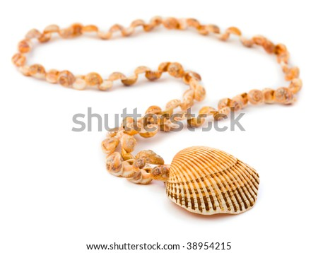 Necklace made of sea shell isolated on white background