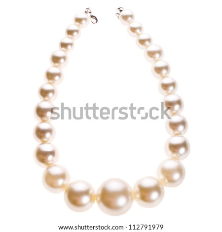 necklace of white pearls with large pearls isolated on white background - stock photo