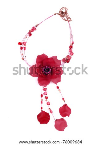 necklace on a white background. - stock photo