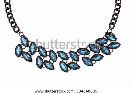 necklace with blue stones isolated on white