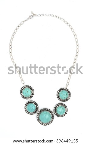 necklace with blue stones isolated on white - stock photo