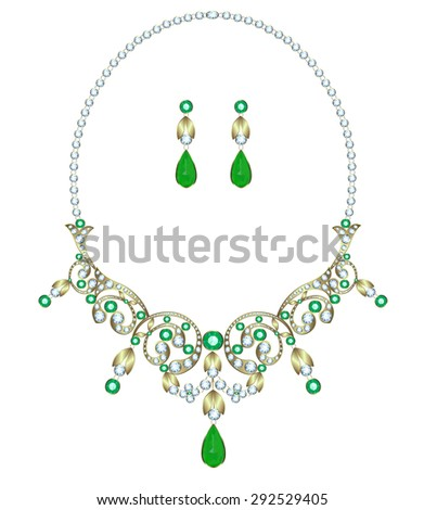 Necklace with diamonds and emeralds and earrings