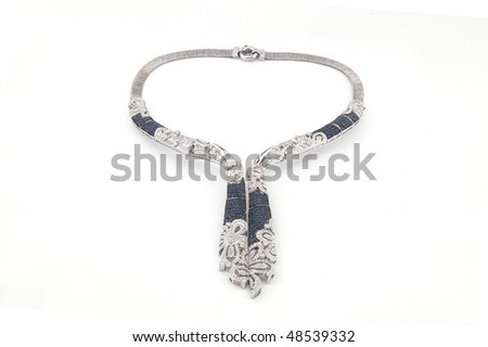 Necklace with diamonds and sapphires - stock photo