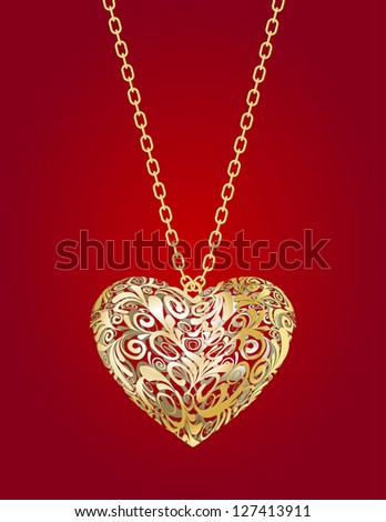 Necklace with golden heart  on a red background - stock photo