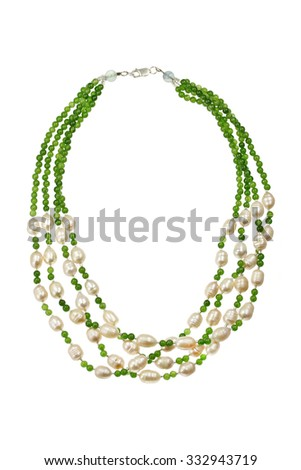 Necklace with pearl and Aventurine - stock photo