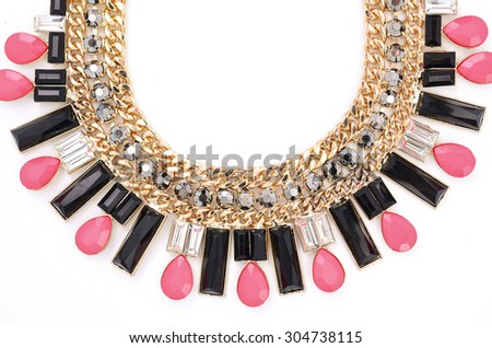 necklace with precious stones isolated on white - stock photo