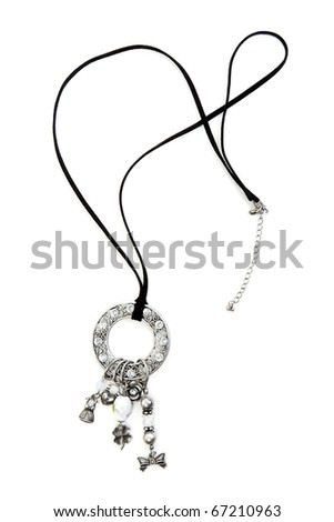 Necklace with sparkling stones on white backgroung - stock photo