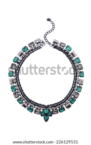 necklace with stone on a white background - stock photo