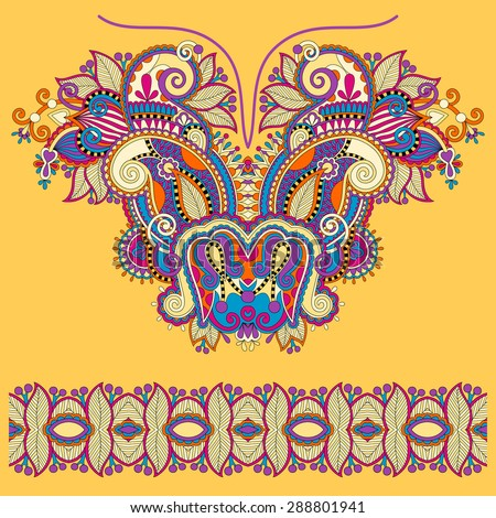 Neckline yellow ornate floral paisley embroidery fashion design, ukrainian ethnic style. Good design for print clothes or shirt.  raster version  illustration - stock photo