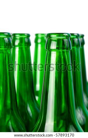 Necks of glass beer bottles - stock photo