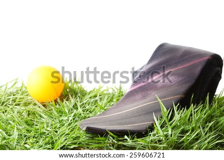 Necktie with orange ball put on the green grass as a background represent the accessory of formal business uniform. - stock photo