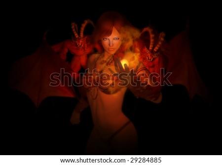 necromancer with familiar demons - stock photo