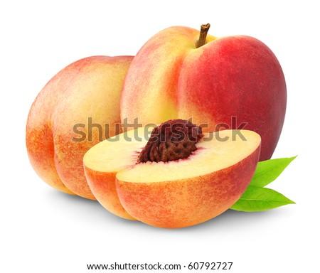 Nectarine peaches over white background - stock photo