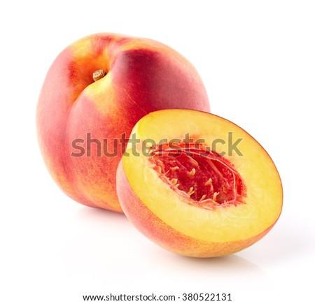 Nectarine with slice - stock photo