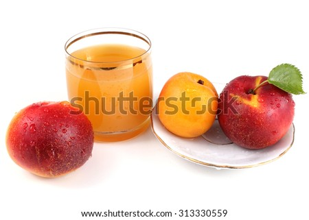 Nectarines, apricot and juice