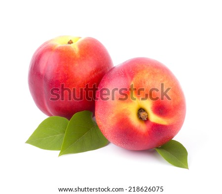 Nectarines isolated on white background cutout - stock photo