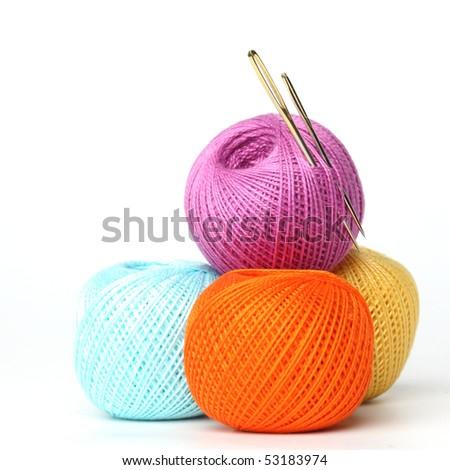 needle and thread - stock photo