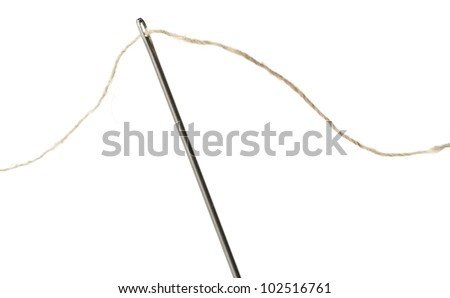 Needle and thread closeup. Isolated on white background - stock photo