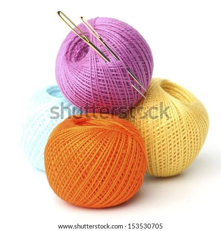 needle and thread macro close up - stock photo