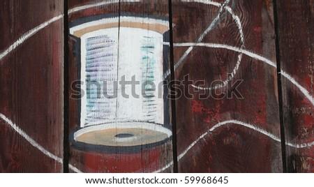 Needle and thread reel illustration. - stock photo