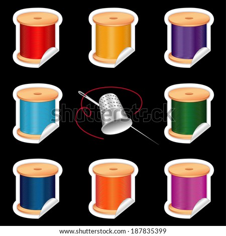Needle and Threads Stickers, Silver Thimble, eight tags in bright, vivid colors for sewing, tailoring, quilting, crafts, needlework, do it yourself projects. Isolated on black background.  - stock photo