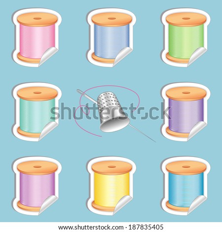 Needle and Threads Stickers, Silver Thimble, eight tags in pastel colors for sewing, tailoring, quilting, crafts, needlework, do it yourself projects. Isolated on aqua background.  - stock photo