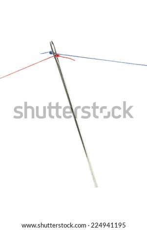 Needle and two threads as for tug-of-war