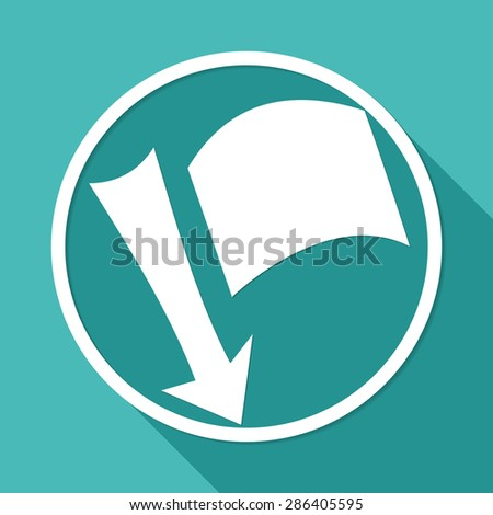 needle arrow with a flag on white circle with a long shadow - stock photo