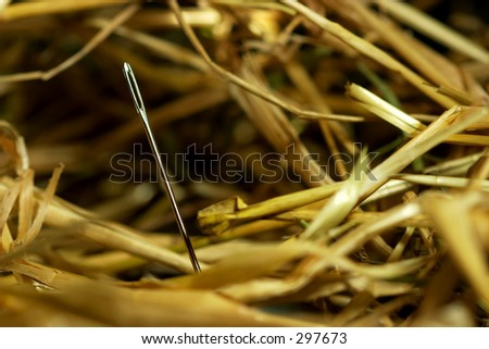 Needle in a bundle of hay.  Needle in a hay stack. - stock photo