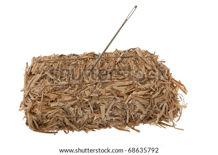Needle in a hay bale in front of white background - stock photo