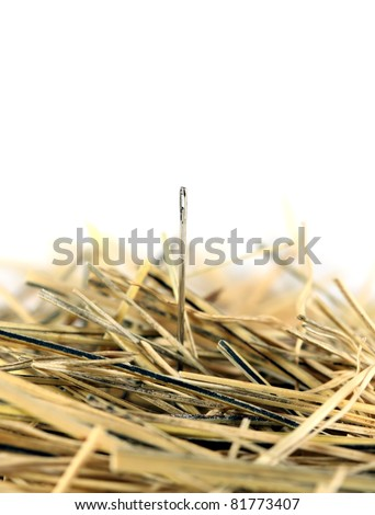 Needle in a haystack on white. - stock photo